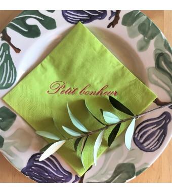 serviette cocktail vert clair lettres anglaises roses