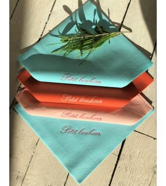 Serviette de table premium intissée turquoise et orange. Serviette ouatée rose pâle